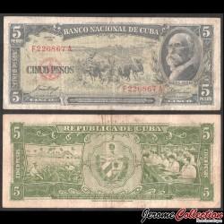 CUBA - Billet de 5 Pesos - Máximo Gómez - 1958 P91a