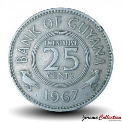 GUYANA - PIECE de 25 Cents - Oiseau Hoatzin - 1967 Km#34