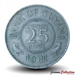 GUYANA - PIECE de 25 Cents - Oiseau Hoatzin - 1981 Km#34