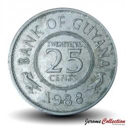 GUYANA - PIECE de 25 Cents - Oiseau Hoatzin - 1988 Km#34