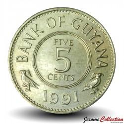 GUYANA - PIECE de 5 Cents - Oiseau Hoatzin - 1991 Km#32