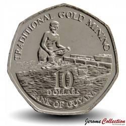 GUYANA - PIECE de 10 Dollars - Chercheur d'or - 2011 Km#52
