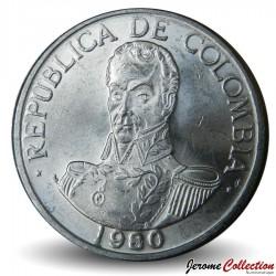 COLOMBIE - PIECE de 1 Peso - Simon Bolivar - 1980 Km#258.1