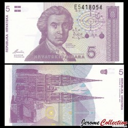 CROATIE - BILLET de 5 Dinars - 1991