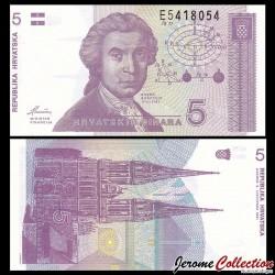 CROATIE - BILLET de 5 Dinars - 1991 P17a