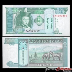 MONGOLIE - Billet de 10 Tögrög - Chevaux - 1993 P54a