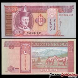 MONGOLIE - Billet de 20 Tögrög - 2002 P63b