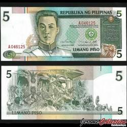 PHILIPPINES - Billet de 5 Piso - Emilio Aguinaldo - 1990 P180a