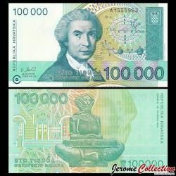 CROATIE - BILLET de 100000 Dinars - 1993 P27a