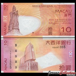 MACAO - Billet de 10 Patacas - Statue A-ma Goddess - 08.08.2005 P80a