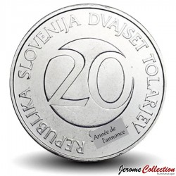 SLOVENIE - PIECE de 20 Tolarjev - Cigogne blanche - 2004