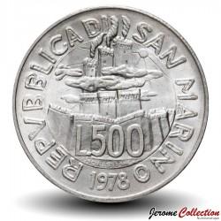 SAINT-MARIN - PIECE de 500 Lires (Argent) - 1978