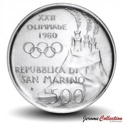 SAINT-MARIN - PIECE de 500 Lires (Argent) - La Boxe - 1980