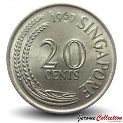 SINGAPOUR - PIECE de 20 Cents - Un espadon - 1967