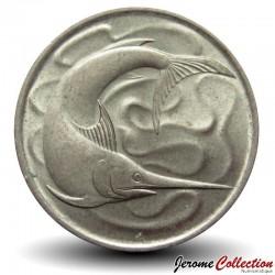 SINGAPOUR - PIECE de 20 Cents - Un espadon - 1967 Km#4