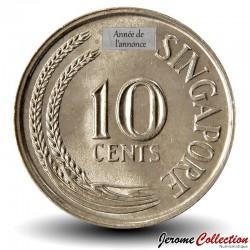 SINGAPOUR - PIECE de 10 Cents - Un hippocampe - 1980