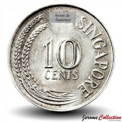 SINGAPOUR - PIECE de 10 Cents - Un hippocampe - 1968