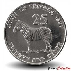 ERYTHREE- PIECE de 25 Cents - 1997 - Zèbre Km#46