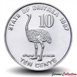ERYTHREE - PIECE de 10 Cents - Autruche - 1997 Km#45