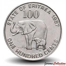 ERYTHREE - PIECE de 100 Cents - Mère éléphant et son petit - 1997 Km#48