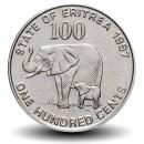 ERYTHREE - PIECE de 100 Cents - Mère éléphant et son petit - 1997