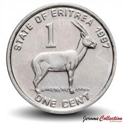 ERYTHREE - PIECE de 1 Cent - Gazelle à front roux - 1997 Km#43