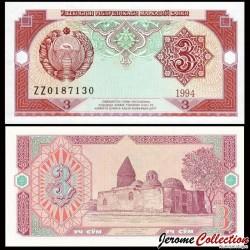 OUZBEKISTAN - Billet de 3 Som - 1994 P74ar