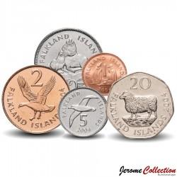 MALOUINES / FALKLAND - SET / LOT de 5 PIECES - 1 2 5 10 20 Pence - 2004 Km#131 132 133 134 135