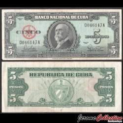 CUBA - Billet de 5 Pesos - Máximo Gómez - 1960 P92a
