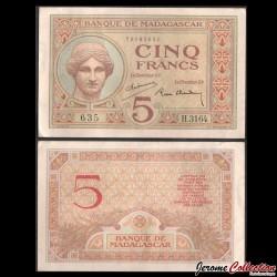 MADAGASCAR - Billet de 5 Francs - Déesse Juno - 1947 P35b