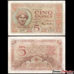 MADAGASCAR - Billet de 5 Francs - Déesse Juno - 1947 P0035b