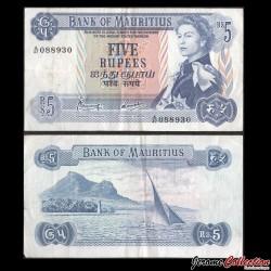 MAURICE (ile) - Billet de 5 Roupies - Montagne de Lion - Elizabeth II - 1967 P30c