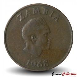 ZAMBIE - PIECE de 1 Kwacha - Oryctérope du Cap - 1968