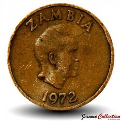 ZAMBIE - PIECE de 1 Kwacha - Oryctérope du Cap - 1972