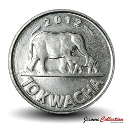 MALAWI - PIECE de 10 kwacha - Maman Eléphant et son petit - 2012 Km#214