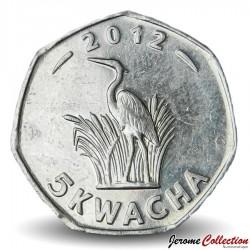 MALAWI - PIECE de 5 kwacha - Héron Pourpre - 2012 Km#213
