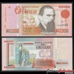 URUGUAY - Billet de 2000 Nuevos Pesos - Juan Manuel BLANES - 1989 P68a