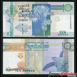 SEYCHELLES - Billet de 10 Roupies - Cocotier / Tortue - 1998 P36a