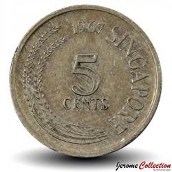 SINGAPOUR - PIECE de 5 Cents - Oiseau-serpent - 1967