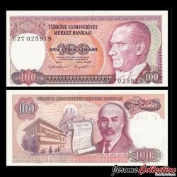 TURQUIE - Billet de 100 Livre turque - Mehmed Akif Ersoy - 1983 P194a2