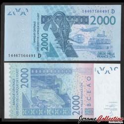MALI - Billet de 2000 Francs - Mérou - 2014 P416Dn