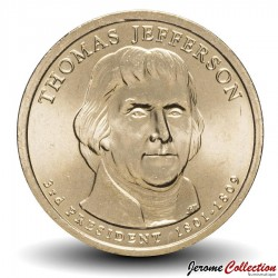 ETATS UNIS / USA - PIECE de 1 Dollar - Séries Présidents: Thomas Jefferson - 2007 - P Km#403