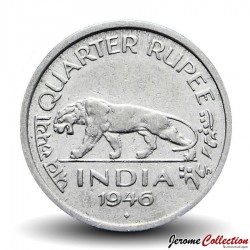 INDE BRITANNIQUE - PIECE de ¼ roupie - George VI - Tigre du Bengale - 1946 Km#548