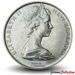 NOUVELLE ZELANDE - PIECE de 20 Cents - Oiseau KIwi - 1971