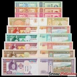 MONGOLIE - SET / LOT de 9 Billets Différents - 1 5 10 20 50 100 Tugrik - Chevaux - 1993 / 2011