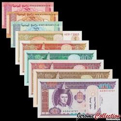 MONGOLIE - SET / LOT de 9 Billets Différents - 1 5 10 20 50 100 Tugrik - Chevaux - 1993 / 2011 P49 50 51 52 53 54 55 56 57 -