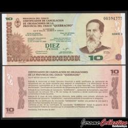ARGENTINE - Provincia del Chaco - Billet de 10 Pesos - 12.10.2001 PS2361a