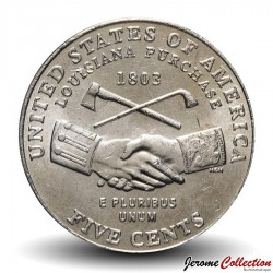 ETATS UNIS / USA - PIECE de 5 Cents - Jefferson - Bicentenaire de l'achat de la Louisiane - 2004 - D Km#360