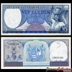 SURINAME - Billet de 5 Gulden - Porteuse de Fruits 1963 P120b