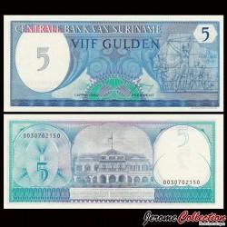SURINAME - Billet de 5 Gulden - Monument de la Révolte - 1982 P125a